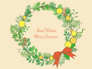 手書きのクリスマスリースのイラスト2種