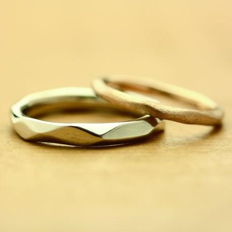 結婚指輪 シンプルでかっこいい、個性的なデザイン 槌目 細見 雅 表参道