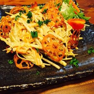 ごぼうサラダと梅ツナ納豆、キムチ納豆のサンチュ巻き~つまみになる副菜~の画像