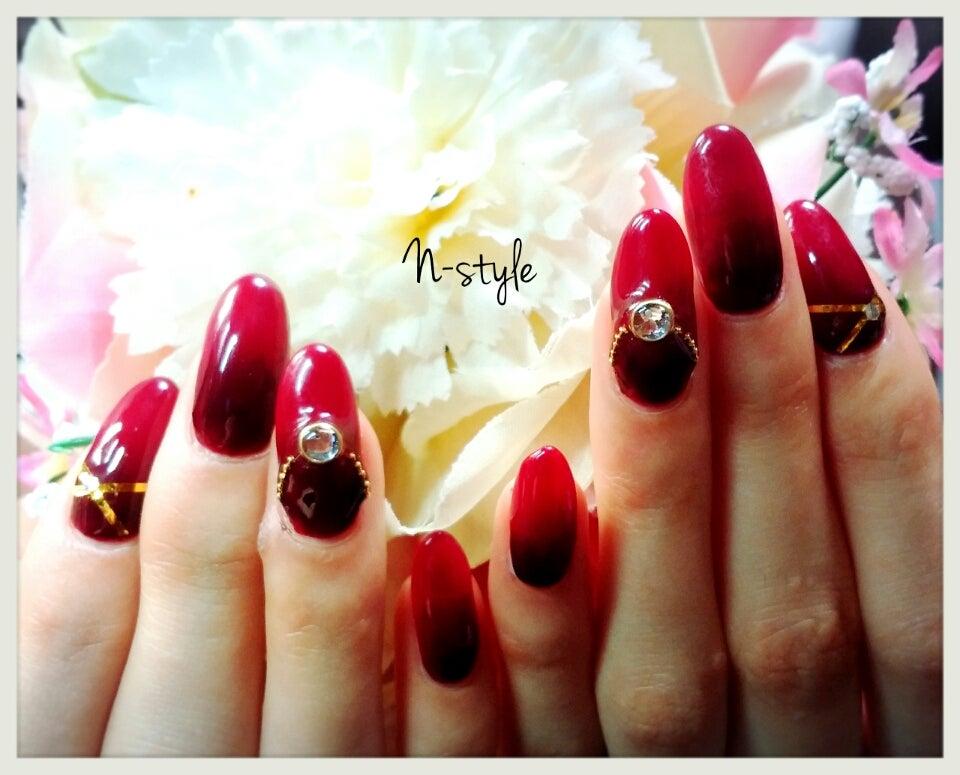 赤×黒グラデーションジェルネイル⭐