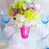 春の アレンジメント  ピンクの シャンパングラスにの画像