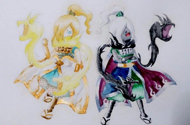 水彩絵の具で影オロチ周瑜ヒカリオロチ周瑜 百烈肉球練習帳