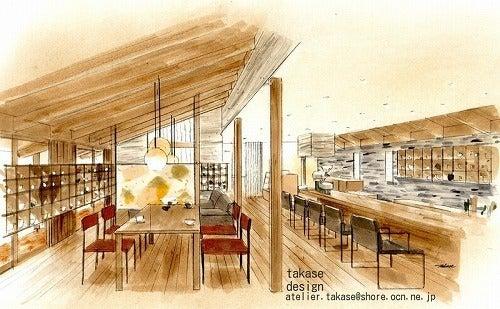 カフェのオリジナルデザインのパース 2 詩うパースイラスト たかせ