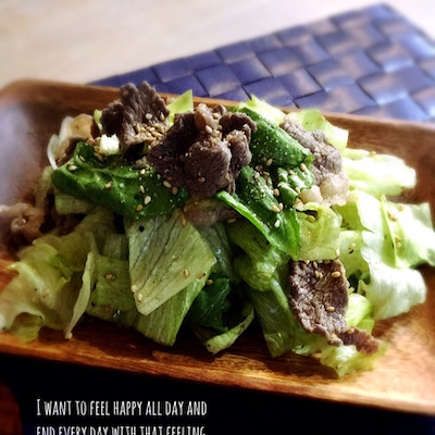 家族が大好き*牛肉とレタスのチョレギサラダ。の記事に添付されている画像