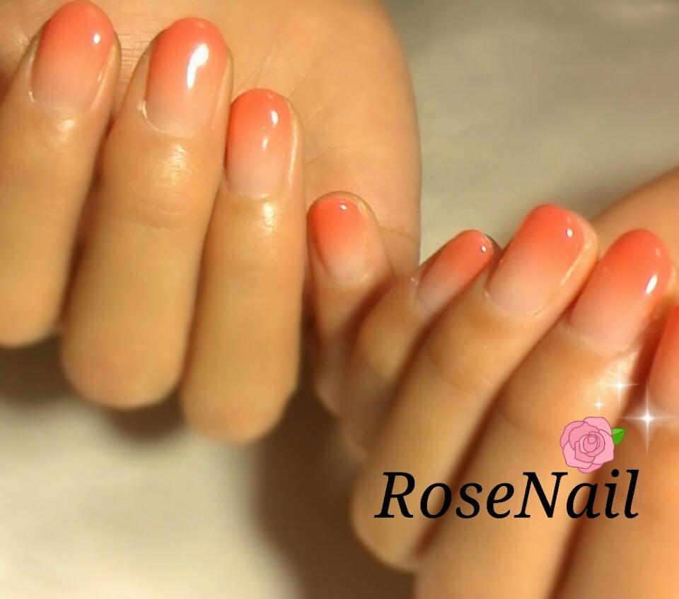オレンジピンク♥グラデーションネイル