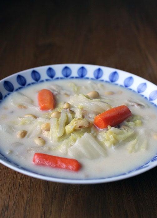 大豆と白菜のミルクスープ02