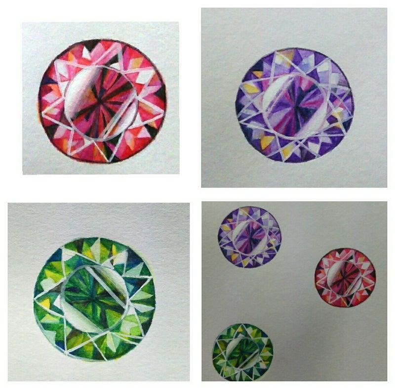 いろんな画材で宝石を描いてみた ヒペリカムーイラストブログー