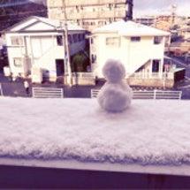 朝からミニ雪だるま♡