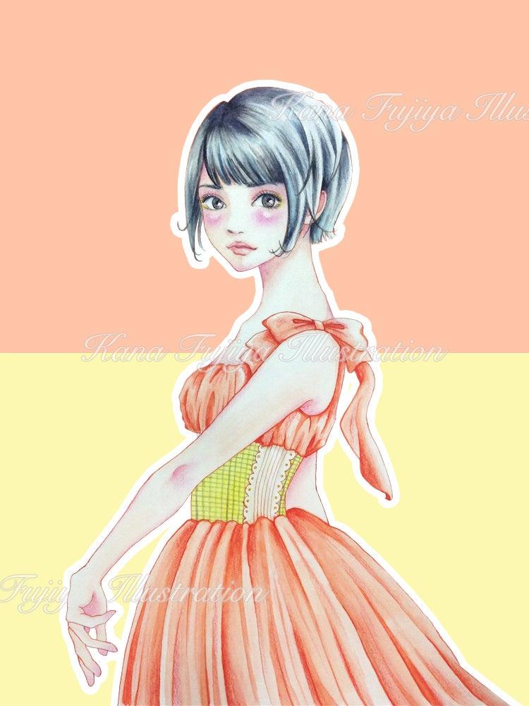 イラストボーイッシュショートガーリーファッションの女の子