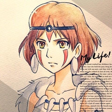 36w5d もののけ姫のイラスト描いてみた 仕事と戦うデザイナーママ32
