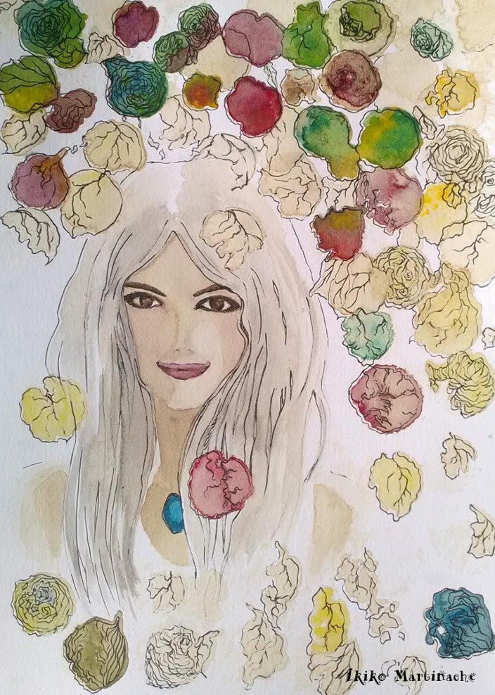 ペン画自信と微笑み元気の出る言葉とイラスト Akiko Aime