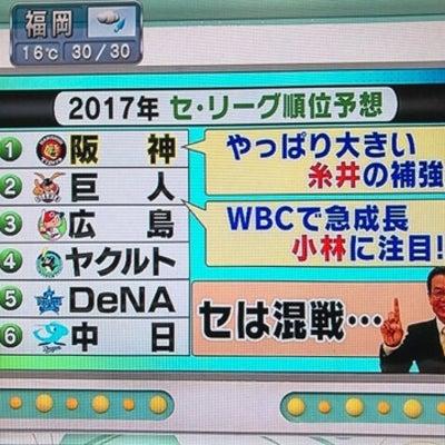 日刊スポーツ 井関さんのセ・リーグ順位予想の記事に添付されている画像