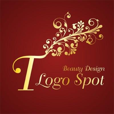 イニシャル植物ロゴ,植物つたデザインの看板ロゴ