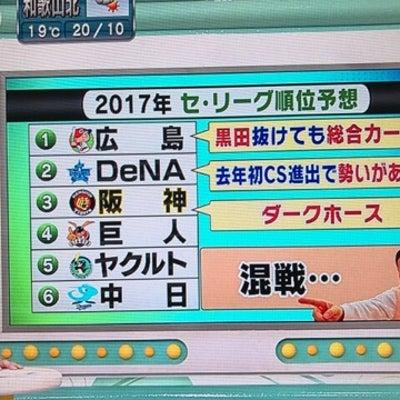 日刊スポーツ寺尾さんのセ・リーグ順位予想の記事に添付されている画像