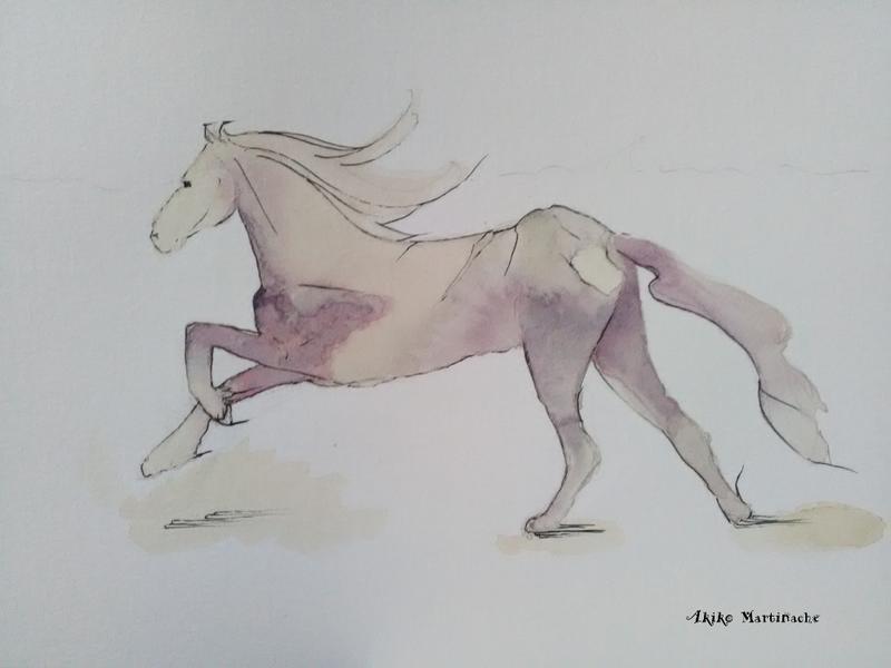 ペン画馬元気の出る言葉とイラスト Akiko Aime