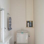 トイレ収納、セリアのフタ付きボックスで統一