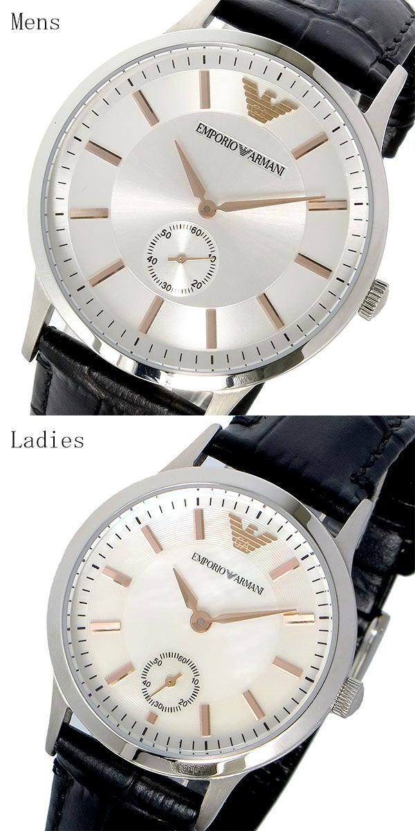 ffa77a6cd0 ... 盤)、ブラック(ベルト)1年間付属品専用BOX、保証書、取扱説明書. エンポリオ アルマーニ EMPORIO ARMANI ペアウォッチ  クオーツ 腕時計 AR9113 シルバー シェル