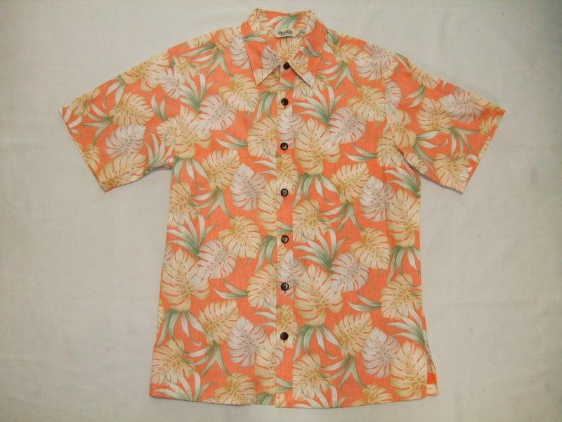 40adf163a2ff3c 裏使いダブルカラーモンステラオレンジ ¥4、990-. 花柄以外で人気のあるリーフ柄アロハシャツ。