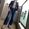 ジャケット着用:紺ブレにギンガムチェックの画像