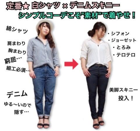 定番の 白シャツ × デニムコーデ は素材選びで着痩せ ...