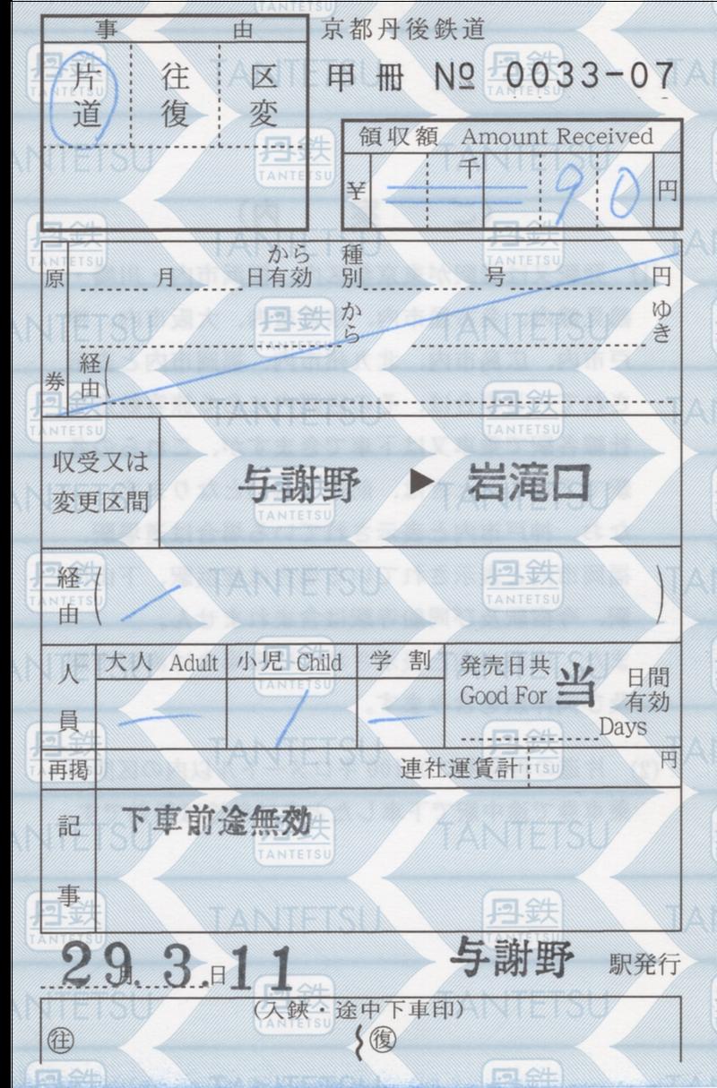 京都丹後鉄道与謝野駅での切符収集