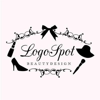 おしゃれ美容デザインロゴ,リボン可愛い看板ロゴ