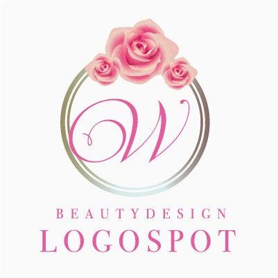 薔薇デザインロゴ,エレガントなサロン看板ロゴ作製