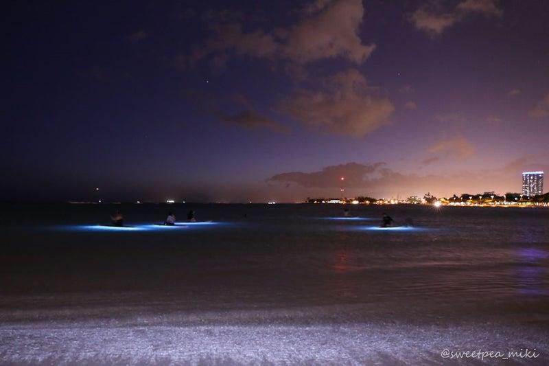 カパリリハワイ ナイトサップヨガ ハワイ 夜 海 ビーチ ライトアップ 撮影