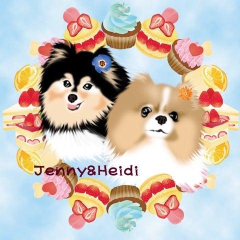 ジェニーとハイジの可愛いイラスト 大阪の少犬 ポメラニアンハイジ