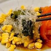 ★ 0カロリー海藻麺サラダ&サーモンお造り