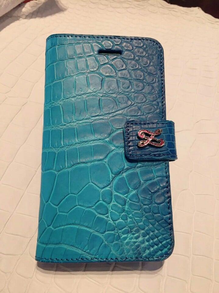 f3c5dd8ad9c2 クロコダイル iPhone7ケース 新色 グラデーションカリブブルー | 本革 ...