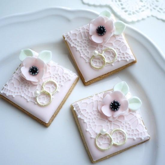 アイシングクッキー ウェディングケーキ リングピロー