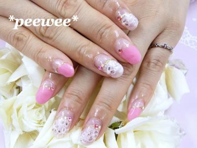 ピンク&お花柄フレンチネイル