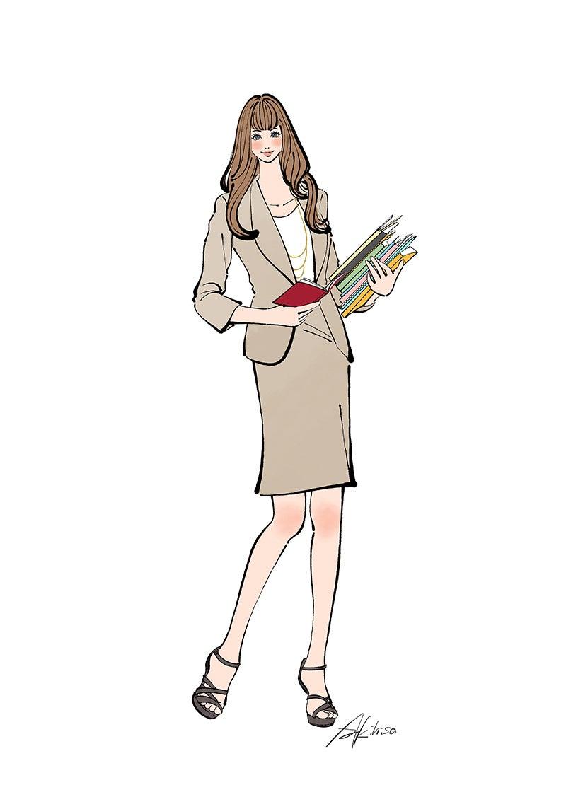 作品NO.iof137 プースカフェジョブ,働く女性,子育て,ママ,スーツ,仕事,イラスト作成のご依頼