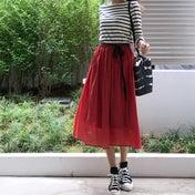 UNIQLO ビタミンカラーのスカートで友人とランチコーデ