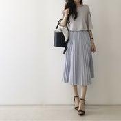 【coordinate】爽やかなストライプのプリーツスカート/パーティー小物