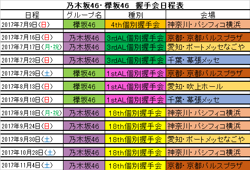 スケジュール 乃木坂