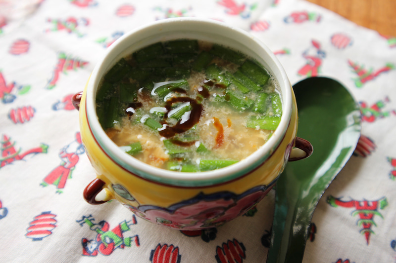 【今日は味噌の日!】海老とニラと玉子のお味噌汁。隠し味は・・・