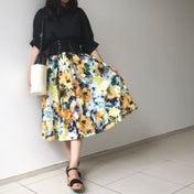 しまむらコーデ♡鮮やか花柄スカートで季節感取り入れ♪