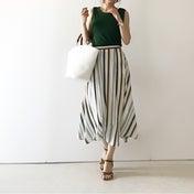 【coordinate】スッキリ穿けるマルチカラーのストライプスカート