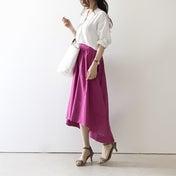 【coordinate】涼しげ素材の白シャツ×ピンクスカート/お気に入りのボディケアアイテム