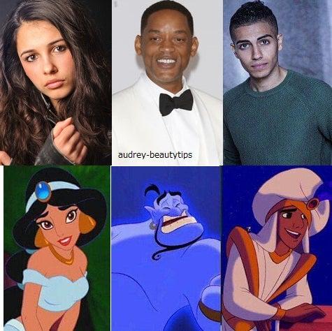 ウィル・スミスが声優としてランプの魔人「ジーニー」役を、アラジン役にはエジプトとカナダのハーフである新人メナ・マスード(ミーナ・マスード)。