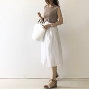 【coordinate】2色買いのUNIQLOスカートでシンプル夏コーデ