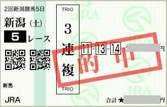 2017年8月12日新潟5R3連複
