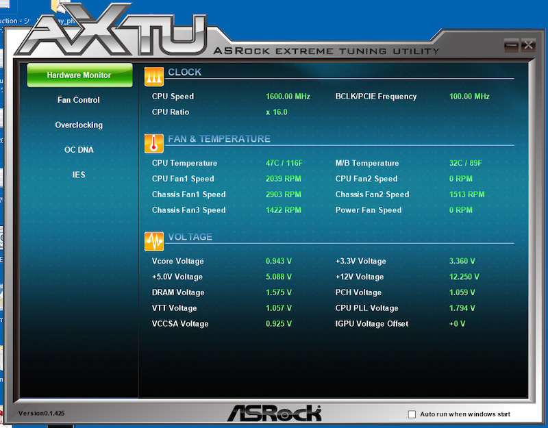 ASRock eXtreme Tuner before