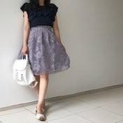 しまむらコーデ♡大人可愛いオーガンジースカートで秋先取り♪