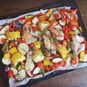 鶏手羽と夏野菜のぎゅうぎゅう焼き