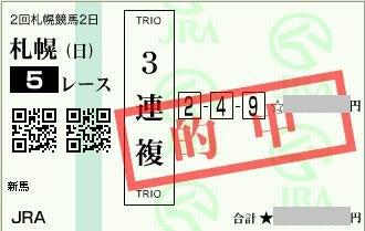 2017年8月20日札幌5R3連複