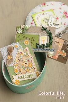 秋のカードとカルトナージュのオーバルボックス