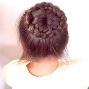 ポニーテール編み込みのまとめ髪♡